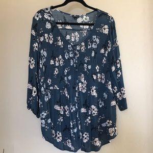 Torrid plus size buttoned floral blouse/top Sz 3X